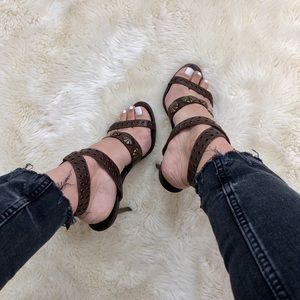 Manolo Blahnik Leather Studded Heel Sandals